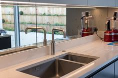 This hand silvered Antiqued Mirror splashback is bang up-to-date and looks super with the Quooker Fusion All-In-One Mixer and Hot Tap Antique Mirror Splashback, Antiqued Mirror, Kitchen Wallpaper, Kitchen Furniture, Decoration, Planets, Kitchen Design, Sink, Kitchens