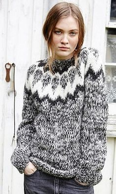 Marl Lopi sweater Tjorven Wool Jumper - Plümo Ltd Icelandic Sweaters, Cozy Sweaters, Sweaters For Women, Knitwear Fashion, Knit Fashion, Cardigans Crochet, Pull Sweat, Fair Isle Knitting, Free Knitting