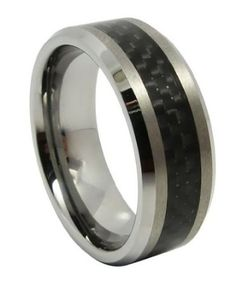 8mm Mens Tungsten Carbide Ring Aniversary/engagement/wedding Band w/ Carbon Fiber Inaly Size 8-13 Selectable. Please E-mail Sizes: Home & Kitchen