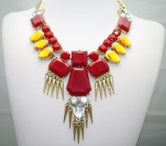 Wholesale necklace Choker crystal Resin red statement necklaces for women free shipping A071 $13.55