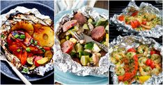 Whether you're looking for quick n' easy, minimal cleanup these recipes are sure to make happy campers. Find 25 of the best foil packet dinners right here. Tin Foil Dinners, Foil Packet Dinners, Foil Pack Meals, Foil Packets, Hobo Dinners, Grilling Recipes, Cooking Recipes, Easy Recipes, Healthy Eating Tips