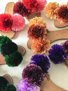Spring is here and do you know what that means? It's pom pom season! As you know by now, pom poms and I go wayyyy back. There really isn't anything I haven't pom pom bombed. Craft Stick Crafts, Diy Crafts, Yarn Crafts, Pom Pom Sandals, Flipflops, Studded Sandals, Beaded Sandals, Easter Bunny Decorations, Shoe Clips