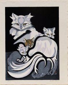 Sekino Jun'ichiro: Cat and Three Kittens (1960)