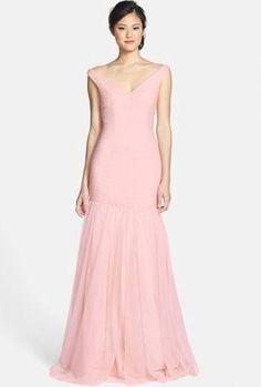 Monique Lhuillier Bridesmaids V-Neck Shirred Tulle Trumpet Dress, Size 10 - Pink