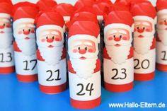Weihnachtsmann Adventskalender basteln - mit dieser kostenlosen Druckvorlage von Hallo-Eltern.de ganz einfach!