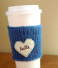 gift idea - knitted sleeve with felt decoration, can pair with the $1 reusable cup from starbucks