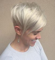 6 silver blonde pixie with long side bangs