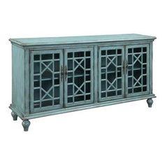 4 Door Media Credenza in Distressed Bayberry Blue   Nebraska Furniture Mart