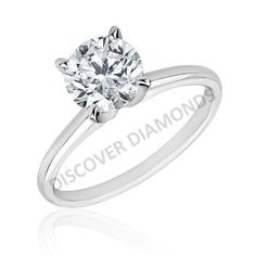 Certified 0.85 CT TDW diamond solitaire engagement ring 14 k white gold #A44 #Solitaire