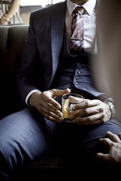Artful Gentleman.  Blue Sharkskin Three-Piece Suit. Love.