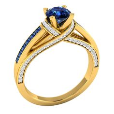 1.30 Ct Real Blue Sapphire W/ Diamond 14k Yellow Gold Wedding Anniversary Ring #Demira #SolitairewithAccents