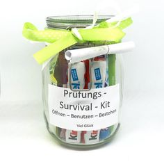 Would you like to cheer someone up during exam preparation? Or someone starts a new job? An exam survival kit that will cheer up the recipient. Survival Supplies, Survival Gear, Survival Skills, Apocalypse Survival, Survival Quotes, Cheer Someone Up, Skins Minecraft, Neuer Job, Selling Handmade Items