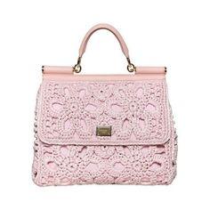 Dolce Gabbana Pink Miss Sicily Crochet Raffia Canvas Bag found on Polyvore