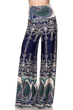 High Waist Wide Leg Gaucho Boho Print Palazzo Pants (Small, Exquisite Jade)