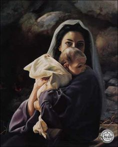 """Absolutely love this picture of """"Mary and baby Jesus."""" One of those prints I can't stop looking at... Hard to believe my God became a real baby!"""