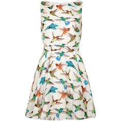 Mela Loves London Bird Print Day Dress ($23) ❤ liked on Polyvore featuring dresses, clearance, white, white dress, bird dress, boatneck dress, white pleated dress and white boatneck dress