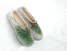 Felted slippers Mint Sun Flowers by jurgaZa on Etsy