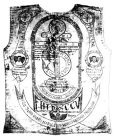 """This vest with all its religious figures and Latin phrases belonged to Macario Sakay. It was his """"anting-anting"""" (amulet) and he believed it protected him from bullets and other hazards of war. Many Filipinos who participated in the fight against Spain and the United States used anting-antings of all types for personal protection."""