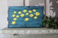 Reclaimed Wood - School of Tropical Fish Wall Hanging Beach Decor