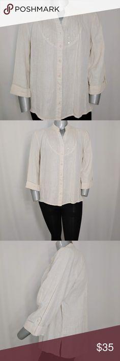 New Alfani Plus Size 20W Short-Sleeve Blue//White Striped Chiffon Button Blouse