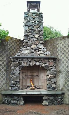 Custom Outdoor Fireplace - Home and Garden Design Ideas