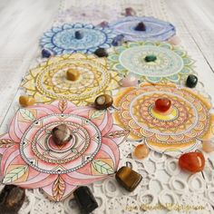 Gain a deeper connection to your body, your energy system and your intuition. Crystal Magic, Crystal Healing Stones, Crystal Grid, Stones And Crystals, Mandala Painted Rocks, Mandala Rocks, Mandala Art, What Is A Mandala, Chakras