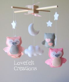 Baby mobile Owl mobile Baby crib mobile Baby by LoveFeltXoXo