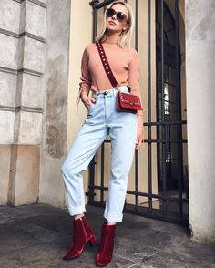 Wonderful Inspirational Fashion Trends for Monday Fashion 2017, Daily Fashion, Latest Fashion Trends, Girl Fashion, Fashion Outfits, Womens Fashion, Booties Outfit, Red Booties, Sophisticated Outfits
