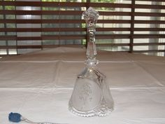 """Interpur sticker crystal glass bell flowers 8"""" tall X 3.75"""" wide etched rose ~ #bell"""