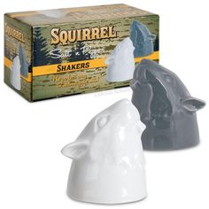 These ceramic Squirrel Salt and Pepper Shakers will amuse anyone who has ever fantasized about seasoning food with the disembodied heads of tree rats. You get two delightful squirrel noggins that can be filled with the powdered seasoning of your choice. Perfect for making salted nuts! Seriously though—these are great for any occasion, whether you use them at a fancy banquet or a picnic in the woods.
