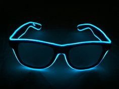 These are Blue Glow Glasses. I make these by hand. They are super fun to wear at parties and shows and are guaranteed to make you friends :) Blue, the classic Glow Glasses color, and most people's favorite color! Just like the Orange pair might make you look like a bad guy in Tron, well... these make you into one of the good guys. All you need is a glowing frisbee. The Blue pair is among the brightest of them all, with a smooth and vibrant glow. You thought you were cool before...