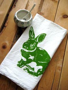 "Screen Printed Organic Cotton Rabbit Flour Sack Tea Towel ~ via this Etsy store, ""Oh, Little Rabbit""."