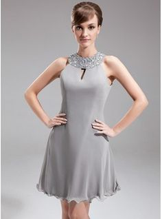 A-Line/Princess Halter Knee-Length Chiffon Mother of the Bride Dress With Beading (008016291) - JJsHouse