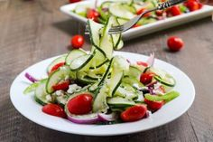 Spiralized Greek Salad - Stephanie Kirkos