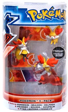 Fennekin Braixen Delphox Figure 3 Pack Evolution Pokemon X