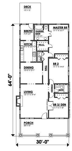 Bungalow Style House Plan - 3 Beds 2 Baths 1948 Sq/Ft Plan #30-207 Floor Plan - Main Floor Plan - Houseplans.com