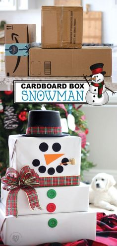 These cardboard box snowmen are so adorable. You can easily craft these fun snowmen and enjoy this winter decoration in your home. Using old cardboard boxes accumulated from those delivery services and a few supplies you can find at the dollar store or craft store, you can have one of these adorable snowmen decorations for your home. Have fun crafting your own cardboard box snowman for your Christmas decorations this year. #christmas #decoration #craft #holiday #homemade Holiday Crafts, Christmas Crafts, Merry Christmas, Amazon Christmas, Christmas Snowman, Diy Snowman Decorations, Christmas Decorations, Cardboard Box Crafts, Paper Crafts