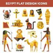 Set of flat design Egypt travel icons, infographics elements with landmarks and famous Egyptian symbols — Stock Illustration #87489210