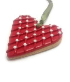 Heart Ornament Faux Cookie Ornament Polymer Clay by JosCreationsGR