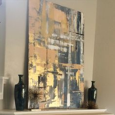 My latest abstract on someone's mantel. 3ft x5ft acrylic on canvas. Thanks @bethdelozier for hiring me to do another piece for your amazing home decorating/staging business! #abstract #art #abstractart #artofinstagram #abstracts #decor #homedecor #greyabstracts #goldabstracts #beigeabstracts