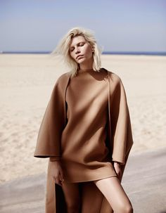 Vogue Netherlands July 2014 Fashion magazine Aline Weber Webber Annemarieke Van Drimmelen Photographer beach editorial coat pink camel overalls dungarees