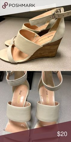 Sole society cream wedges size 6.5 Sole society leather wedges sandals with ankle strap. Only worn twice and I'm great condition! Only small mark in sole but nothing shows when your foot is in the sandal! Great for casual wear to work or date night! Sole Society Shoes Sandals