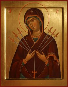 Icon of the Seven Arrows of the Theotokos / Спас и Богородица Religious Icons, Religious Art, True Faith, Holy Rosary, Byzantine Art, Russian Orthodox, Madonna And Child, Art Icon, Orthodox Icons
