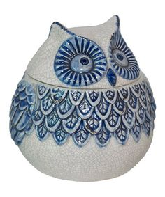 Take A Look At This Blue White Owl Jar By Three Hands Corporation On
