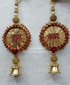 Decorated Shubh Labh Hanging Pair in fabric lace & pearl with metal accessories. Diwali Decoration Items, Diya Decoration Ideas, Flower Decorations, Diwali Craft, Diwali Gifts, Diwali Diya, Art N Craft, Craft Work, Silk Bangles