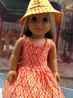 American Girl Doll Clothes Tangerine Print by gofancynancy on Etsy, $44.99