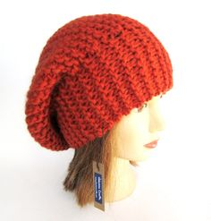 Items similar to Beret hat Slouchy beanie hat burnt orange slouch hat chunky knit slouchy hat Irish knit accessories for women warm winter hat wool gift tam on Etsy Knitted Beret, Crochet Hats, Slouchy Beanie Hats, Beanies, Warm Winter Hats, Knitting Accessories, Hand Knitting, Burnt Orange, Chunky Knits