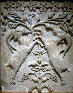 SASSANIAN | Ibex & Tree of Life. | c.600 | Persian | Sassanian | stucco | Damaghan. Iran. | | ©Kathleen Cohen |