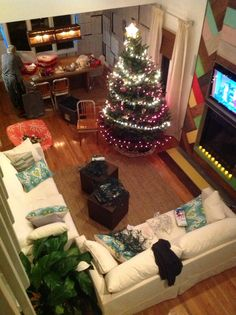 Living room at Christmas beach house
