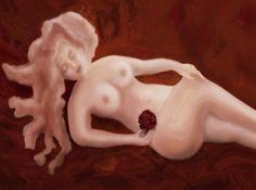 Otra de mis creaciones digitales, una bella durmiente desnuda con una rosa roja en la mano